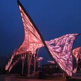 Night view of science pavilion. Photo: Ryuji Miya. Image courtesy of Chris Y.H. Chan
