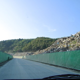 Piles of Debris on our way to Onagawa Temporary Housing about atleast 2 kilometers at an average of 25 high.... Literally a sh*t ton of trash with nowhere to go..for now I hope. via John Tubles
