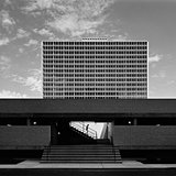 East Tower at Lafayette Park, Detroit, by Mies van der Rohe, 1963. (Photo taken in 1974 by Balthazar Korab)