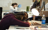 When the pressure is on, dedicated architecture students show how to power nap like a pro