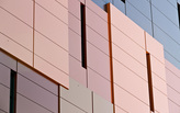 Multi-layered cube-like façade achieves diversity in residential high-rise design with fire-rated aluminum composite material