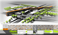 The skywalk - Urban design of the space between planned train station Bronowice and existing shopping centre MAKRO-IKEA - Cracow, Poland