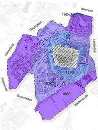 The historical expansion and densification of Leiden in the 20th and 21st century.
