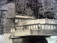 Rendering of Falling Water, Frank Lloyd Wright