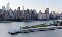 Louis Kahn's Four Freedoms Park makes its point in the East River, with Manhattan as a backdrop. (The Guardian; Photograph: Iwan Baan/Four Freedoms Park Conservancy)