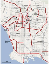 The red lines were proposed freeways – a veritable pedestrian paradise! Credit: LA Times