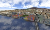 The waterfront in Dundee, simulated by the Sustainable City Visualisation Tool. Created using a game engine, this program helped residents appreciate the city's regeneration project. Photograph: Abertay University