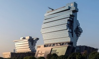 Stacked Jenga blocks … the Nanfung complex in Guangzhou is the kind of mixed-use project that architects Aedas hopes to build in London. (The Guardian; Photograph: Aedas)