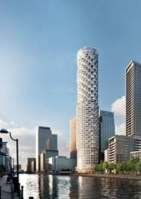 The planned Herzog & de Meuron tower. (The Guardian; Image: Canary Wharf Group)