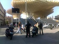 Here is a photo at the newly inaugurated Parasol by J Mayer H in Seville.