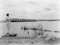 Fishing at Buchanan Dam, 1940s