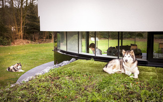 A circular villa designed with dogs in mind