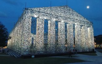 The Parthenon of Books is constructed with 100,000 banned books at historic Nazi book burning site