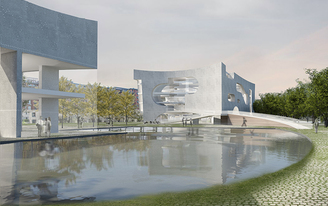 Steven Holl designs a pair of white concrete buildings for a new Cultural and Health Center in Shanghai
