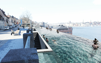UMA proposes a kilometer-long infinity pool for Stockholm's waterfront
