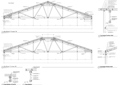 45-FOOT WOOD TRUSSES, COMMERCIAL BLDG. OAKLAND