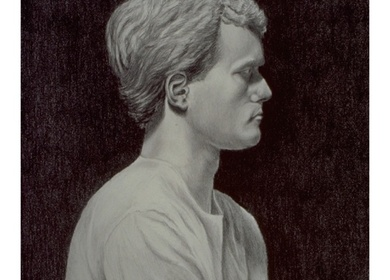 1999-Drawing - Self Portrait in Graphite