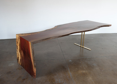 Indonesian Ingas Waterfall Table, Bronze Trestle Base