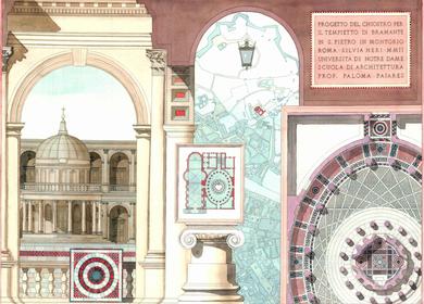 2004 - Bramantes Tempietto courtyard proposal. Watercolor rendering.