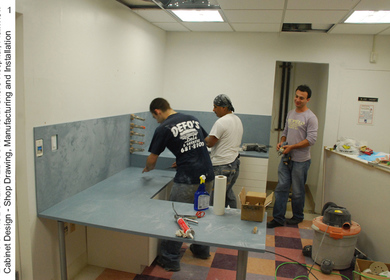 North Shore Hospital, Cutom corian cabinet design
