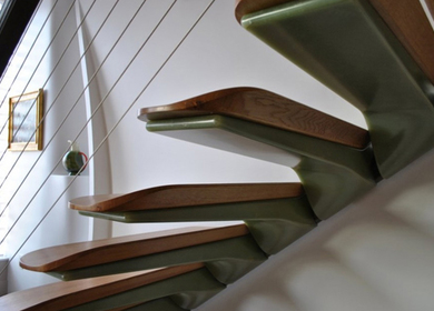 Bio-Composite Staircase, Carved wall and Light Boxes
