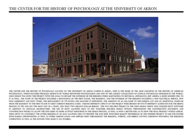 University of Akron - Center for the History of Psychology