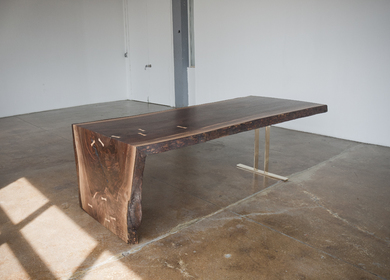 Walnut Waterfall Table, Bronze Trestle Base
