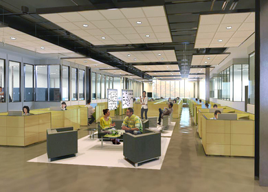 Open Office Collaboration Area Concept