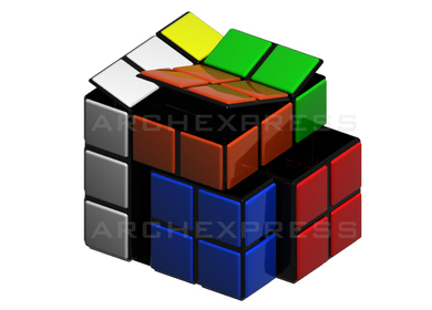 Rubik gives you the solution! Compact container for recycling or storage.
