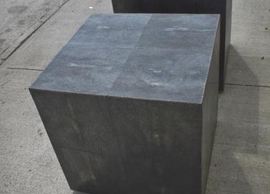 Dark Silver Bronze Shagreen Side Tables - Jets VIP stadium interiors
