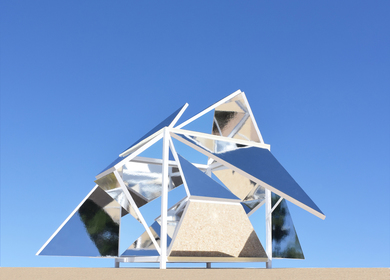 The Folding Mirrors Pavilion, a new kind of interactive architecture.