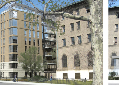 Greenpoint Hospital. New Construction / Rehabilitation. 201 units, 214,800 SF. In progress 2011.