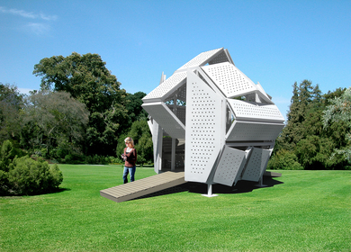 The M-velope, A Perforated Metal Retreat Structure
