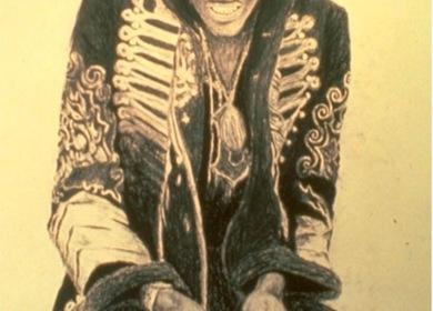 1996-Drawing - The Guitarist Jimi Hendrix
