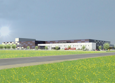 Printing factory and warehouse with the office building in Marupe, Latvia