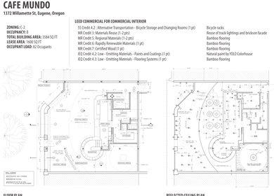 Cafe Mundo - Working Drawings / Sustainable Designs