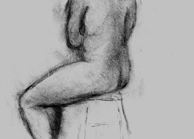 Drawing - woman seated