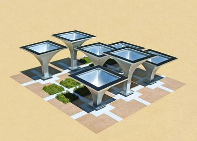 The Solar Rain Funnels (A functional public art gathering place)