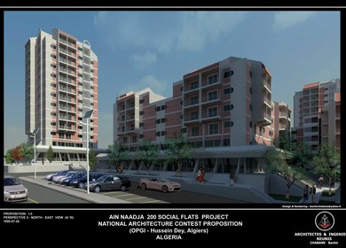 200 Social Flats National Architecture Contest Project, (AIN NAADJA, Algiers, Algeria)