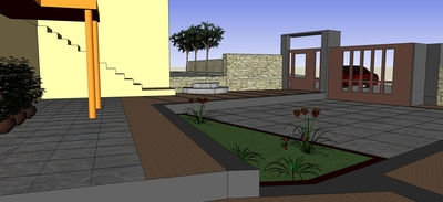 Design proposal for the courtyard of a weekend house in Roditsa, Greece