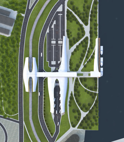 Transportation Hub - Train Terminal + Bus Terminal + Boat Terminal