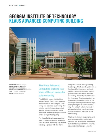 Georgia Institute of Technology Klaus Advanced Computing Building