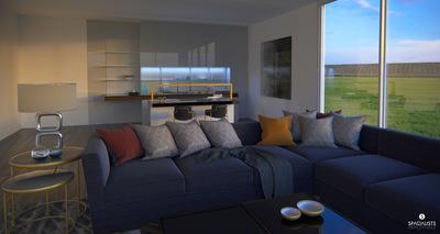 Sunset Living Kitchen 3D Rendering