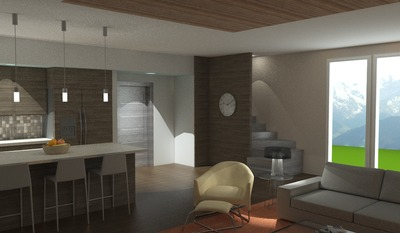 Open plan kitchen + family room