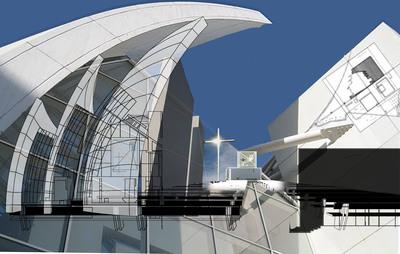 Richard Meier's Jubilee Church CAD Collage