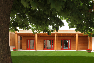 Timber costruction kindergarten in Treviso, Italy.