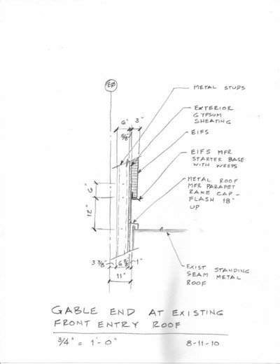 9. Section Sketch Detail of Gable End at Existing Front Entry Roof