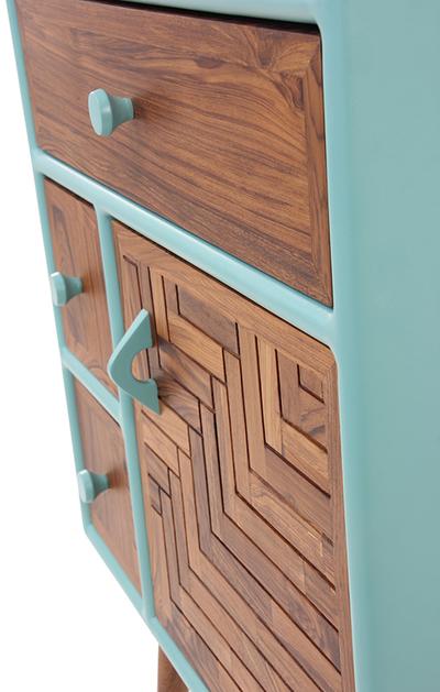 A colorful mini cabinet