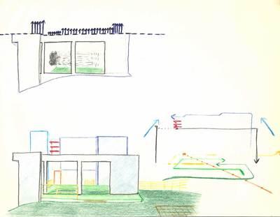 D. Colored Pencil on paper, Illustrative diagram