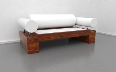 WOOD AND LEATHER SOFA
